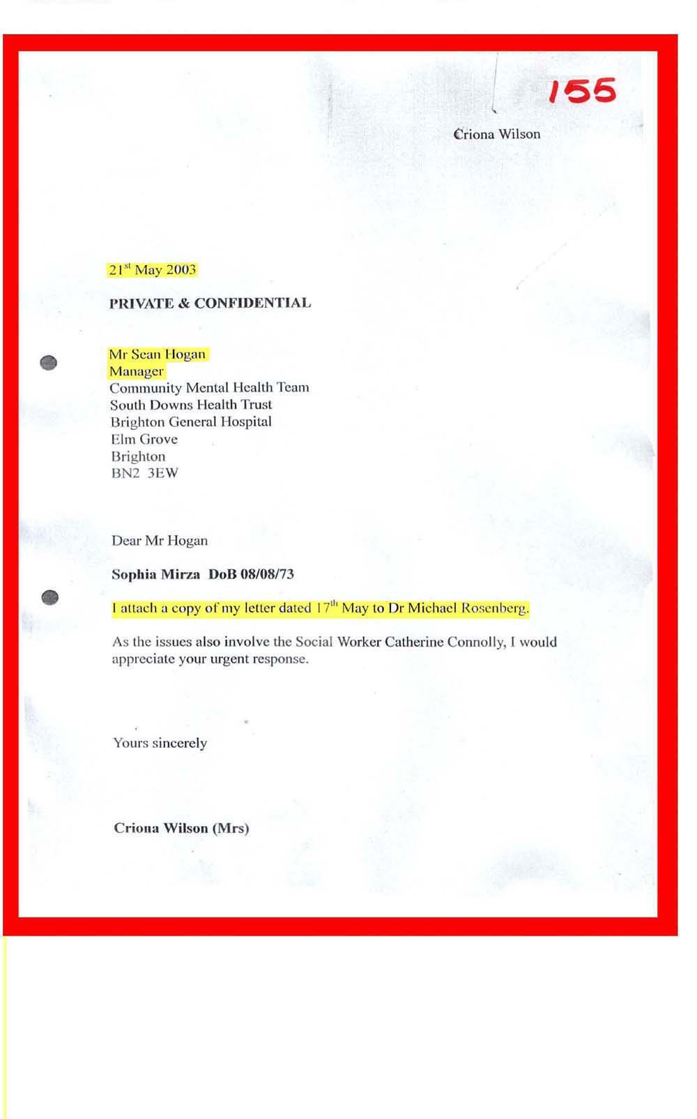 documents index 155 21 05 2003 mrs wilson mr hogan manager cmht re dr rosenberg s letter